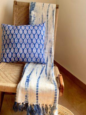 Blue Shibori Cotton Throw Blanket