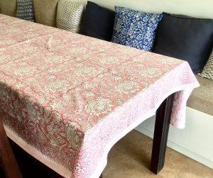 Pink Floral Block Print Tablecloth