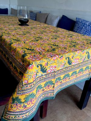 Yellow Floral Block Print Tablecloth