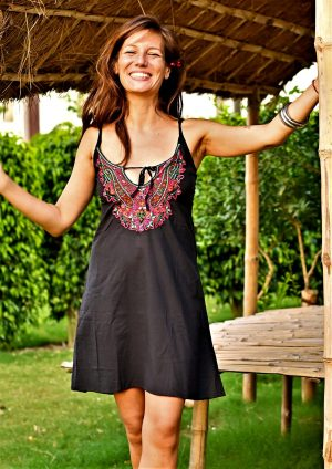 Tia Black Embroidered Dress