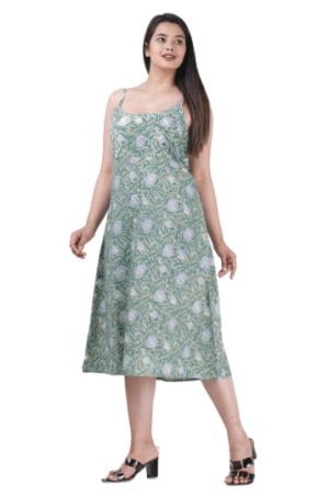 blue block print dress