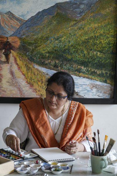 watercolour painting demonstration by artist Chitra Vaidya