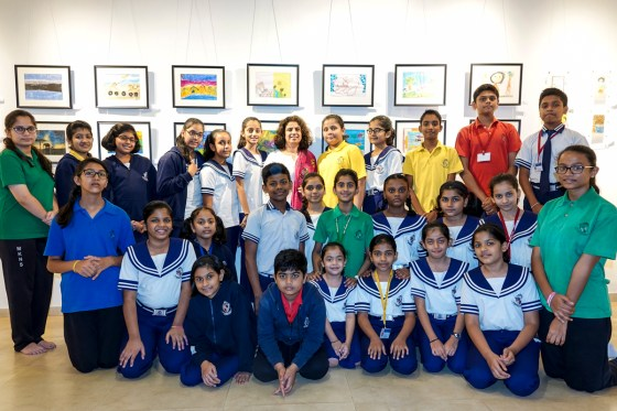 Children from Mansukhbhai Kothari National School, Pune at Indiaart Gallery
