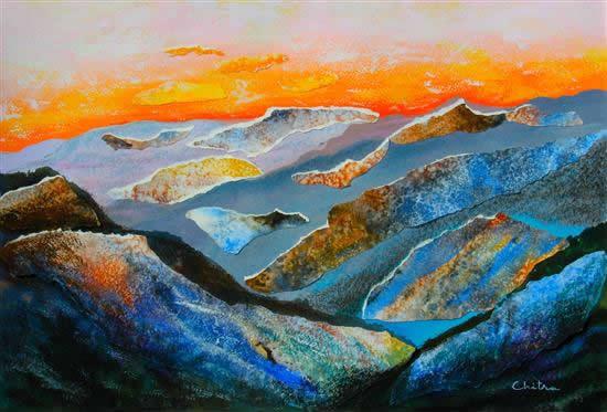 Himalayas - collage painting by Chitra Vaidya