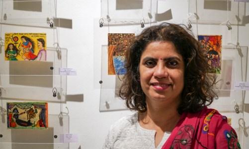 Art teacher Swati Kunte at Khula Aasmaan exhibition