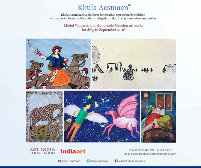 Art contest by Khula Aasmaan - medal winners