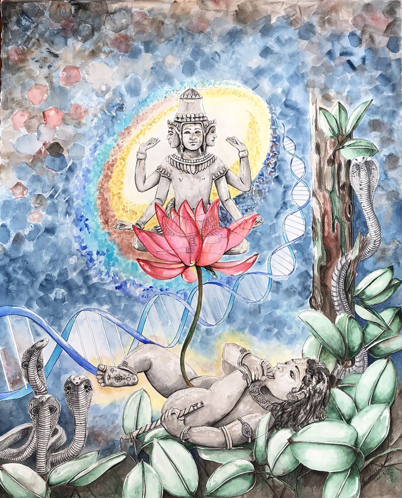 Vatapatrashayi, painting by Anuardha Kabra, watercolour pencil on paper, 33 x 26 inches