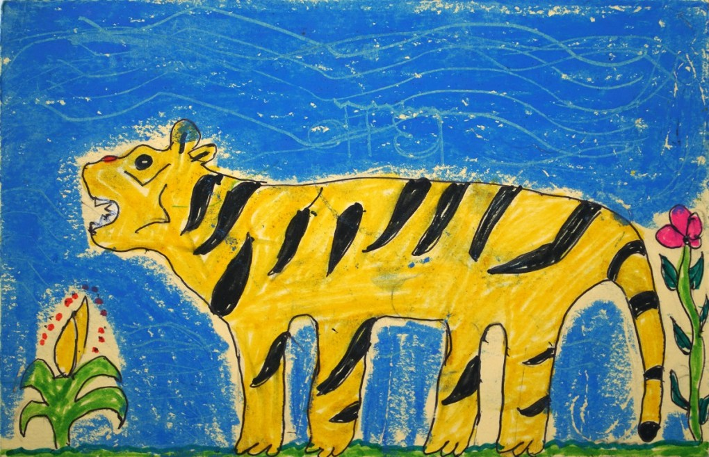 Painting by Pankaj Meda, class 6, Khambale ashramshala for adiwasi (tribal) children