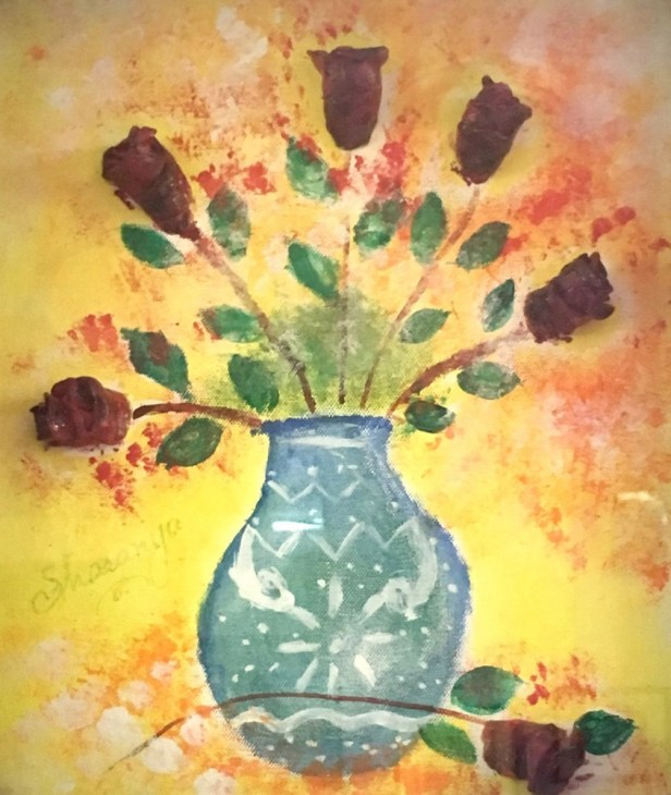 Roses in bloom, painting by Sharanya Das from J B Petit High School for Girls, Mumbai