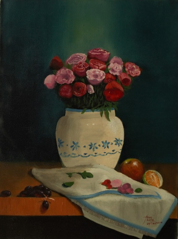Still life with roses and fruit, painting by Arun Akella, Oil on Canvas