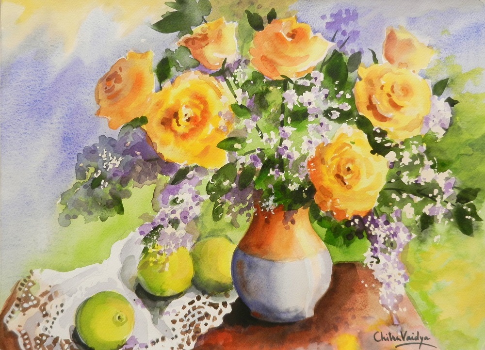 Still Life with yellow roses, painting by Chitra Vaidya, watercolour on paper, 10 x 14 inches