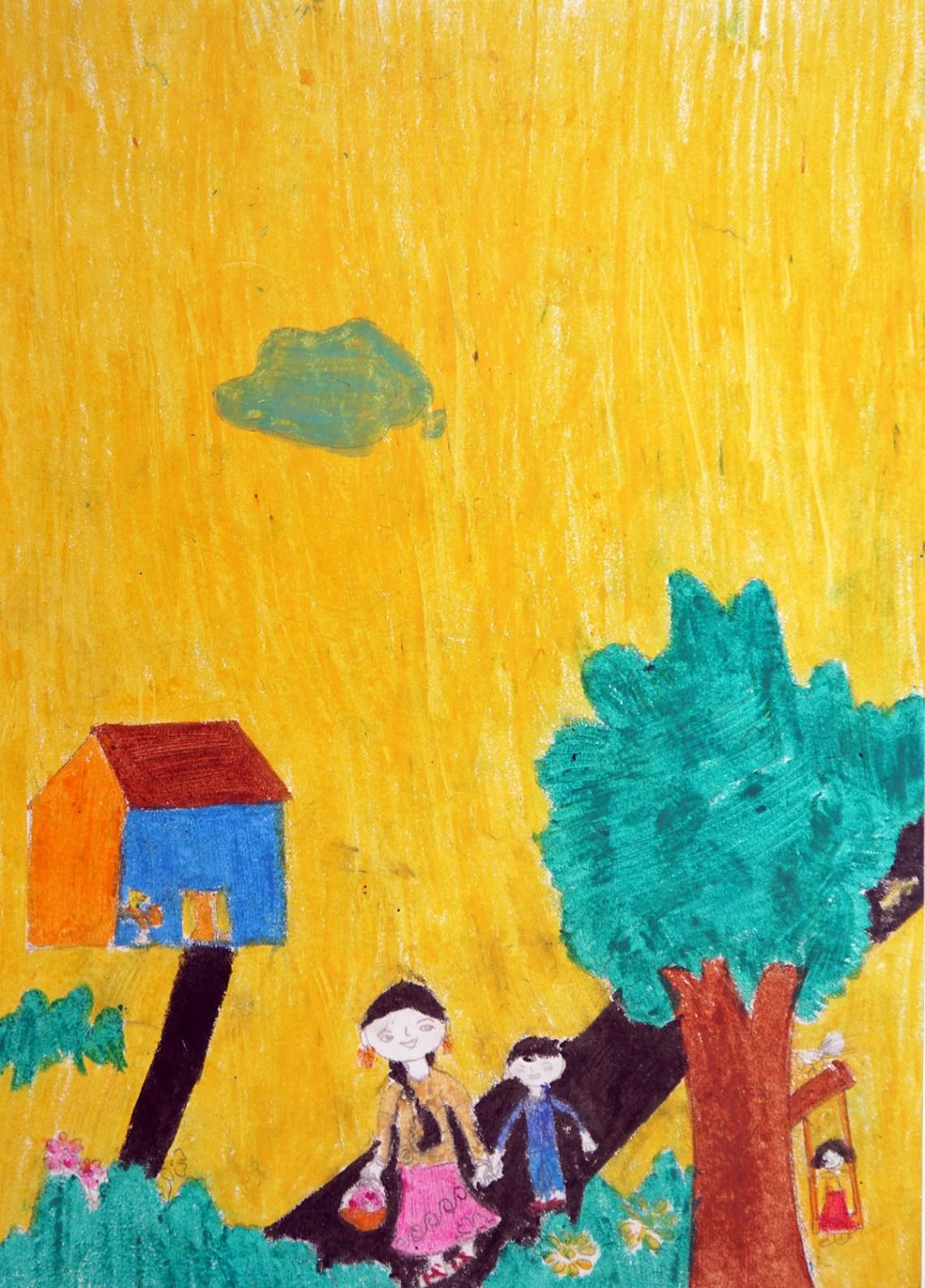 Painting by Kajal Baraf, gold medal winning artwork from Khula Aasmaan kids art competition