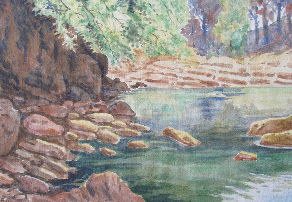 Pond in my village, painting by master artist H. C. Rai. Posted on World Water Day to highlight the need for universal access to freshwater as part of sustainable development goals.