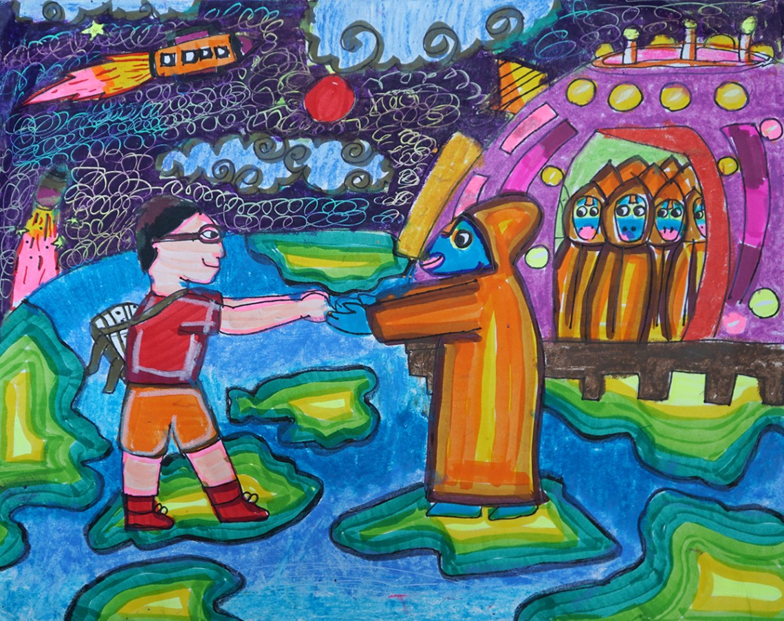 Prize winning painting by Rhituraj Bhowmik from Holy Cross School, Agartala, Tripura
