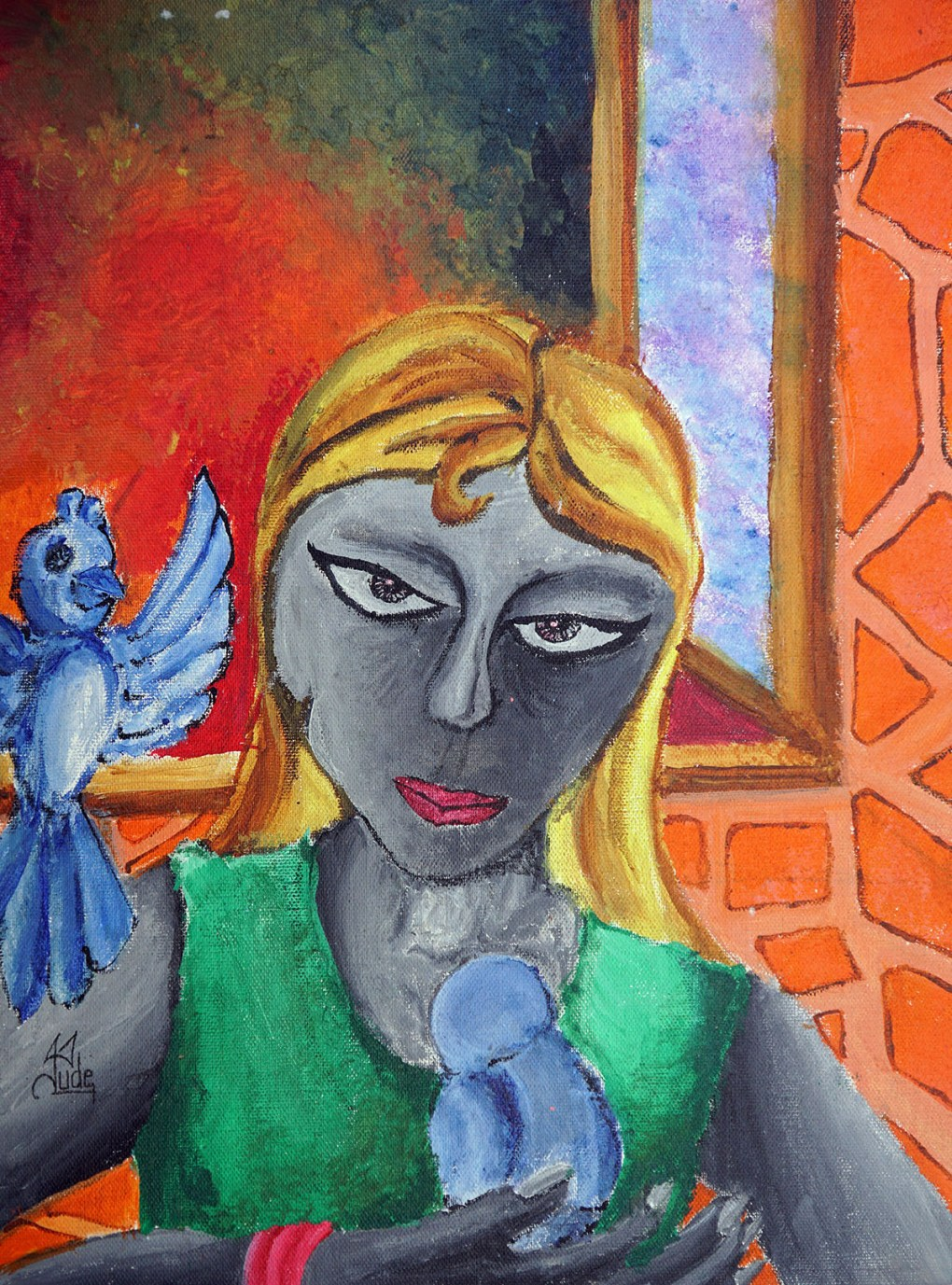 "Painting by child artist Jude D""Lima, medal winner from Khula Aasmaan painting competition"