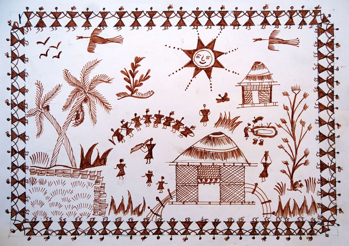 Warli painting by child artist Priyanka Govind from Dabhosa ashramshala, Taluka Jawhar, Dist. Palghar, Maharashtra - medal winner from Khula Aasmaan painting contest for children