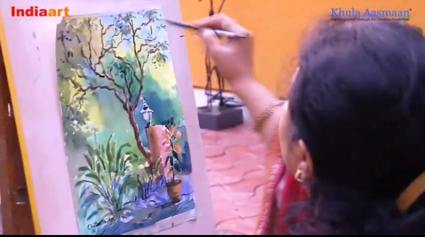 Step by step watercolour painting demo by artist and art teacher Chitra Vaidya