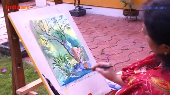Watercolour painting demo by artist and art teacher Chitra Vaidya