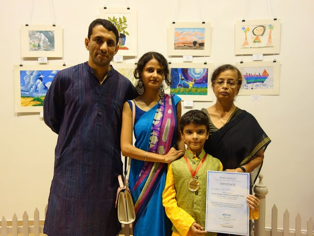 Neil Gaur with his family at Khula Aasmaan art exhibition of medal winning artworks at Mumbai - October 2017. Neil's video is part of videos of medal winning children.