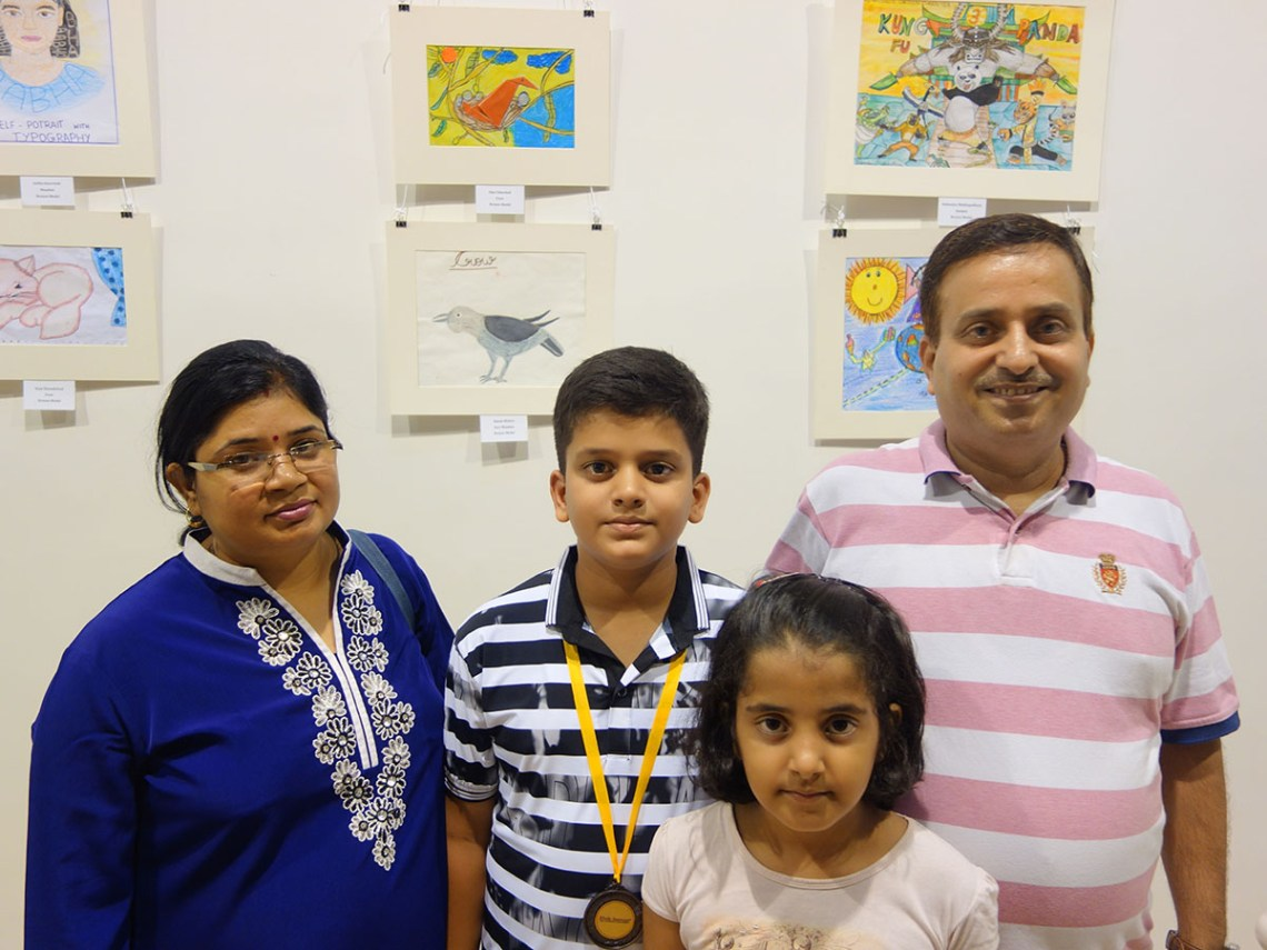 Nilesh Mishra with his family at Khula Aasmaan art exhibition of medal winning artworks at Mumbai - October 2017