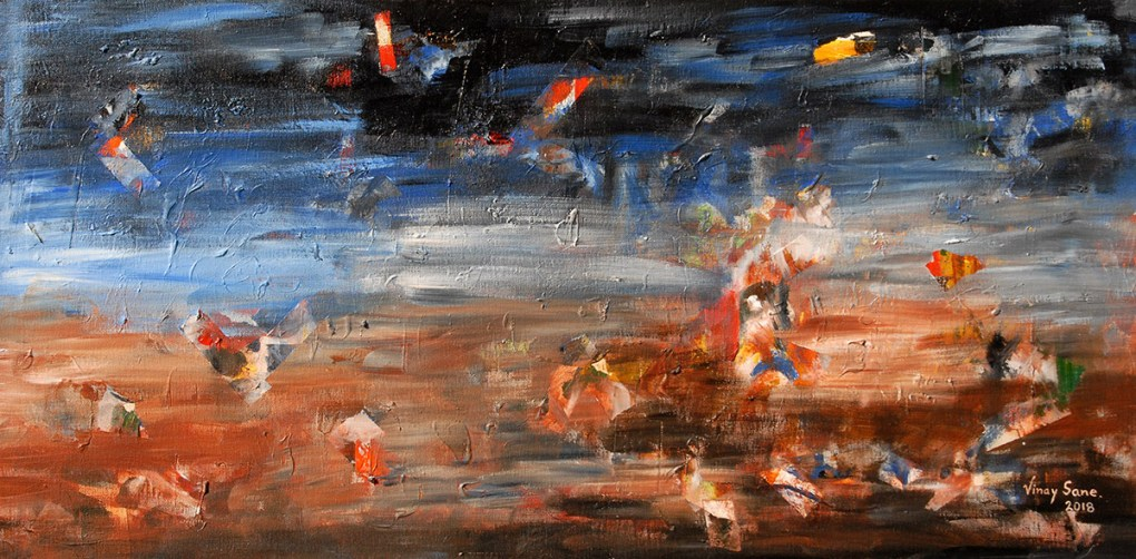 Earth, heaven and guardians, painting by Vinay Sane, Acrylic on Canvas , 18 x 36 inches. Vinay likes to explore nature and peache through abstract landscape paintings. (This painting is part of TRIO, painting exhibition at Nehru Centre Mumbai)