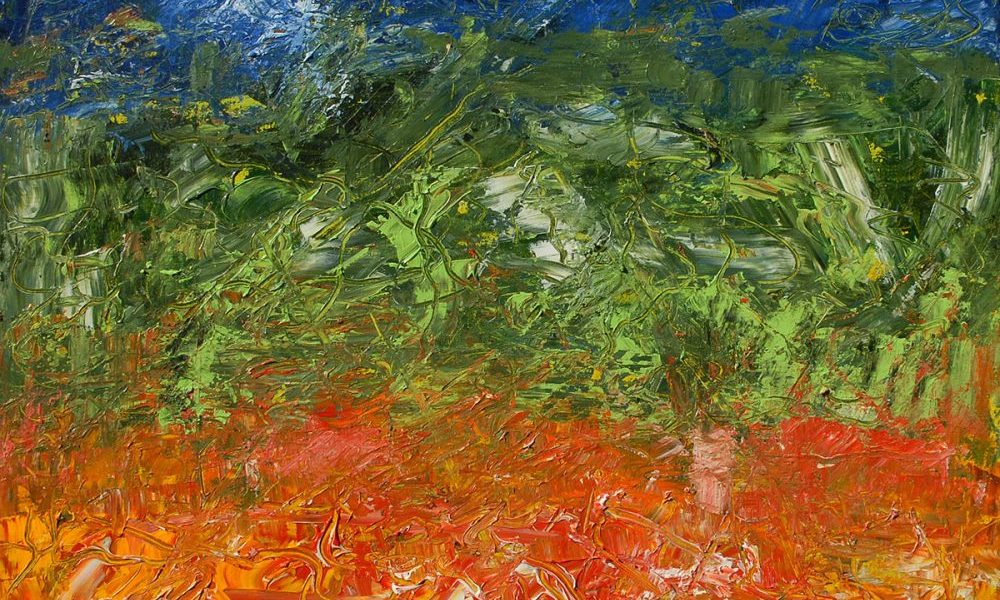 Fields, painting by Vinay Sane,Acrylic on canvas, 30 x 30 inches - one of his several landscape paintings