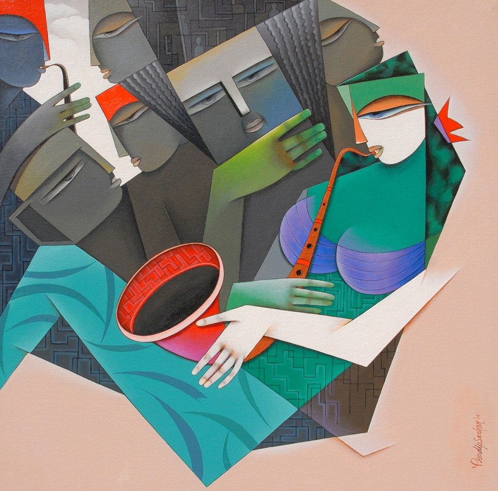 Music of Love, painting by Pradip Sarkar, Acrylic on Canvas, 30 in x 30 inches