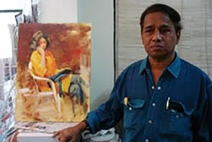 John with the completed painting after the painting demonstration presented by Indiaart Gallery
