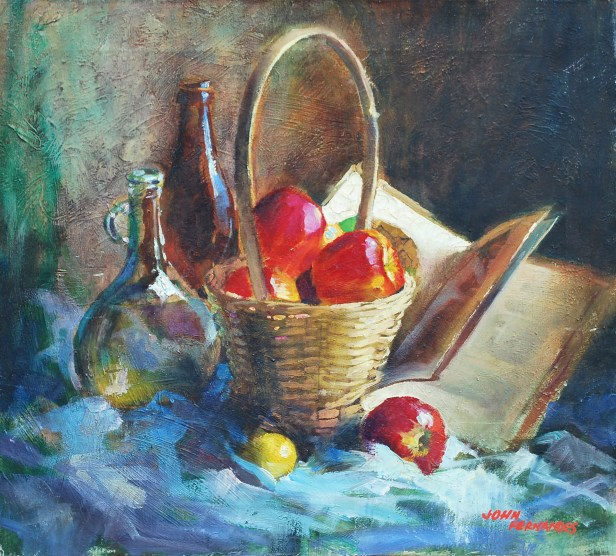 Basket with apples, still life painting by master painter John Fernandes