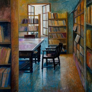 Books at a heritage library, limited edition print by artist Chitra Vaidya