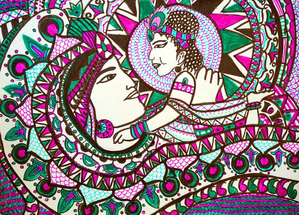 Krishna, painting by Zoya Qamar