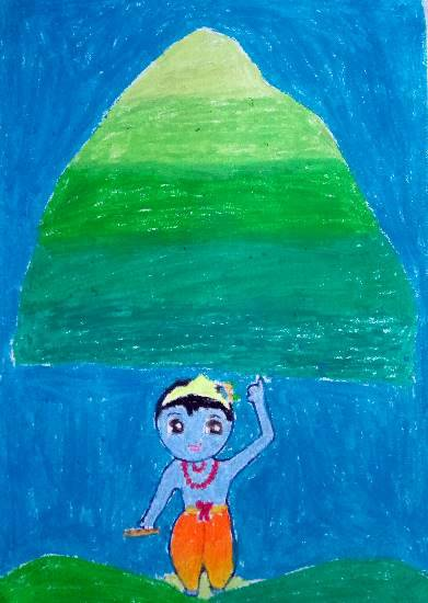 Painting by Sanvi Singh. This painting received an honorable mention in Khula Aasmaan kids painting competition.