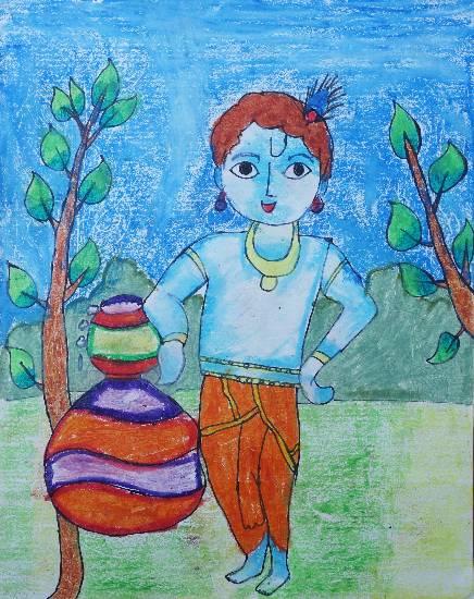 Krishna painting by Sargun Maini, NOIDA.