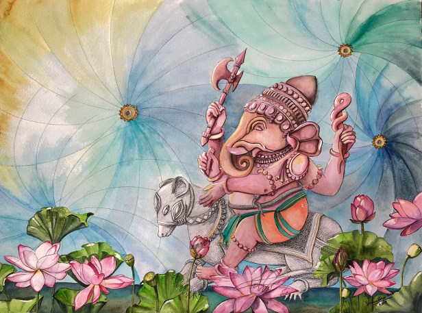 Akurath by Anuradha Kabra, Watercolour on Paper, 23 x 30 inches
