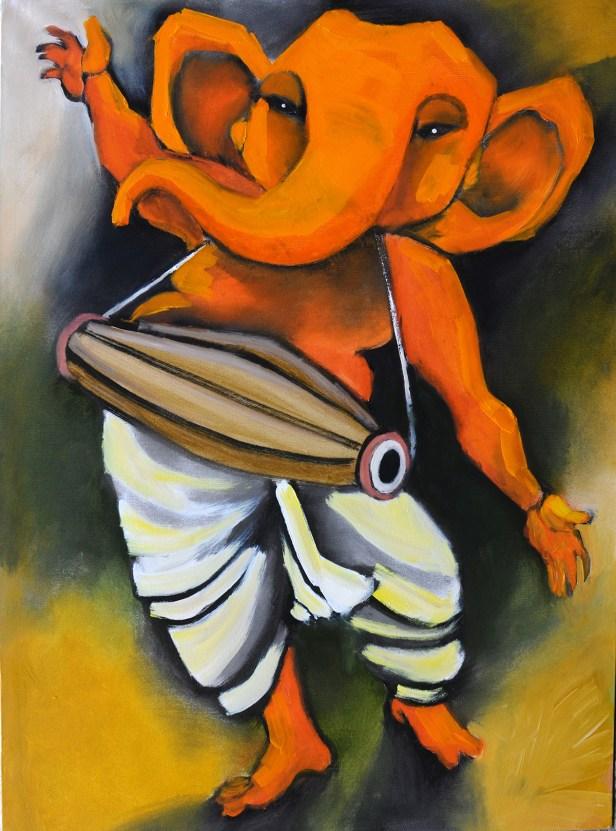 Ganesha in rhythm, Ganesh painting by Milon Mukherjee
