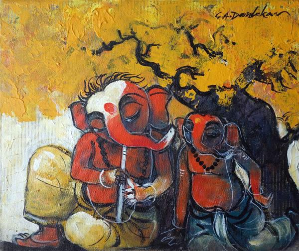 Ganapati playing flute by G. A. Dandekar, Acrylic on Canvas, 10 x 12 inches