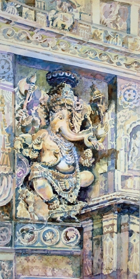 Natya Ganapati at Halebid by Chitra Vaidya, Watercolour on Paper, 26 x 12 inches