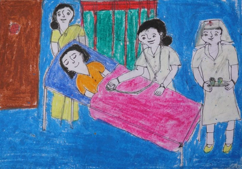 Doctor painting by Shilpa (class 9) as her dream painting. Shilpa is a student of Varwada ashramshala for Girls, which is a school for tribal girls (adivasi girls)