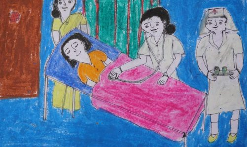Listen to Shilpa Dombare (class 9) about her dream painting of being a doctor