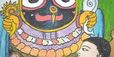 Painting of Jagannath, shortlisted in Khula Aasmaan children's art competition