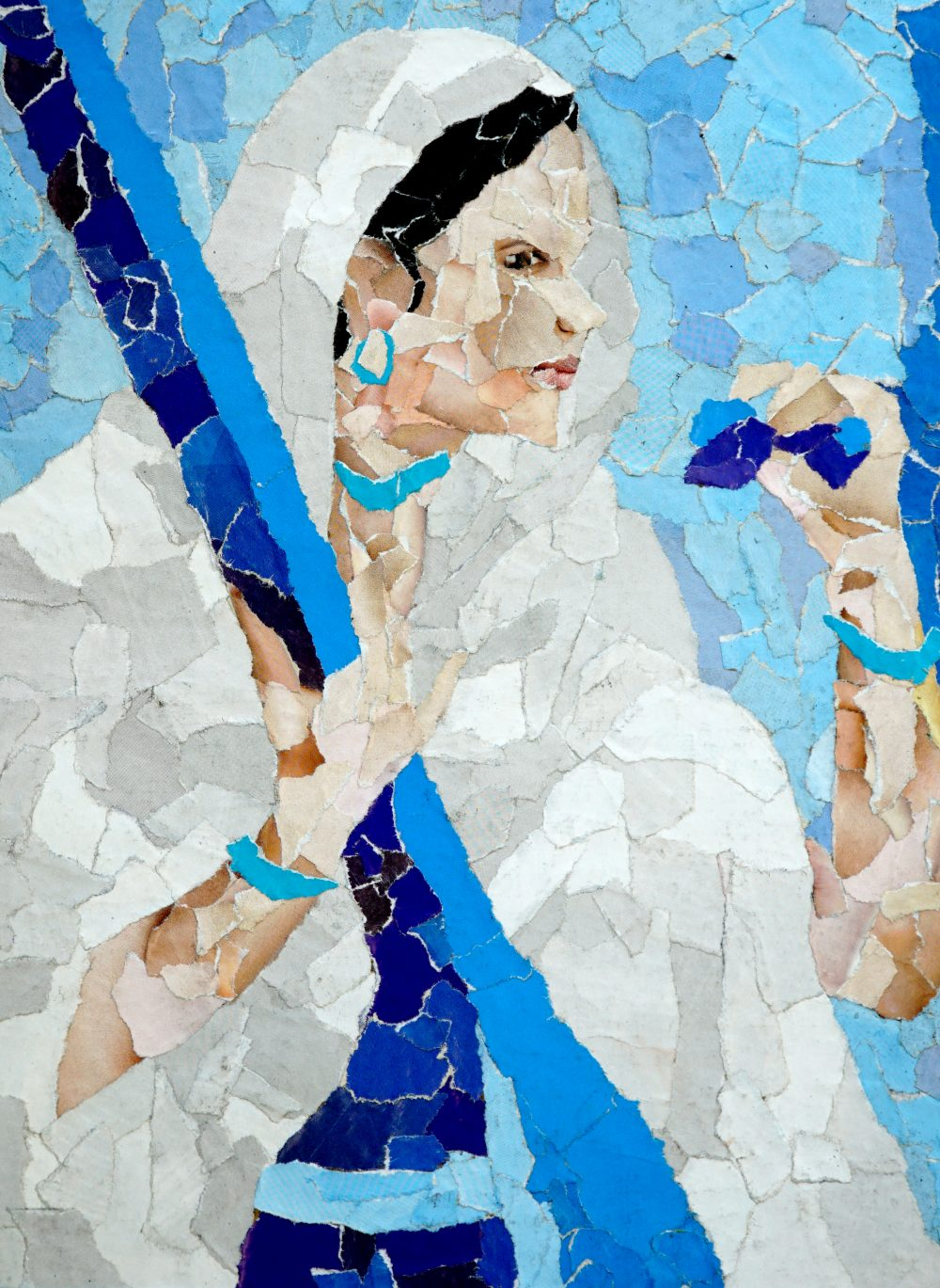 Meera Bai painting, collage art by young artist Tushar Sakpal, won silver medal in Khula Aasmaan art contest