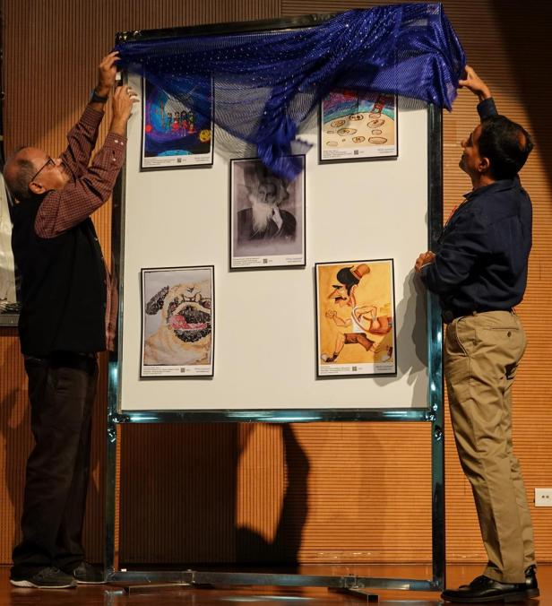 Inauguration of Khula Aasmaan art exhibition by Dr. Sanjeev Galande of IISER Pune