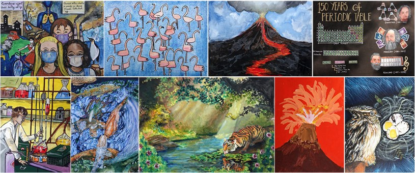National Painting Competition to mark 150th anniversary of periodic table consisted of free online painting contest and on the spot painting competition