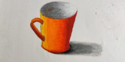 object drawing and painting demo of a tea cup