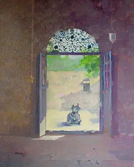 Nandi, painting by Anwar Husain, Oil on Canvas, 30 x 24 inches