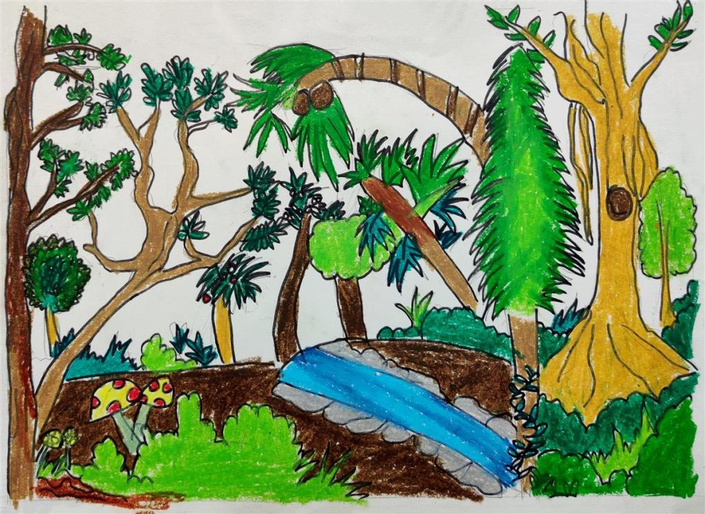 one of the prize winning artworks from science day art competition by Avanti Anand Bhutkar, P. E. S. Modern Primary English Medium School, Pune