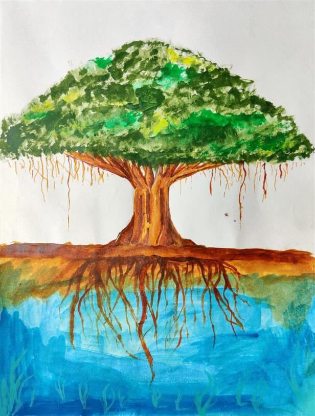 one of the prize winning artworks from Science Day painting contest by Omkar Balaji Suryawanshi, Army Public School, Pune