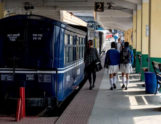 Schoolgirls at Darjeeling railway station