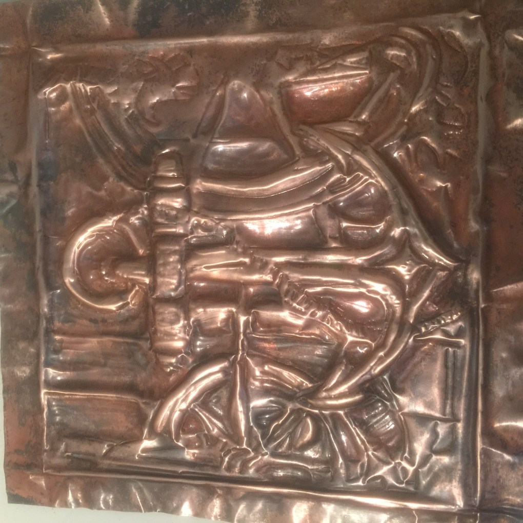 Embossing on a copper sheet by Sainath Aidoor, Mumbai