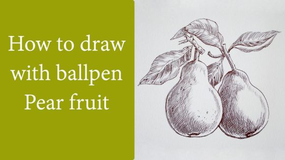 How to draw pear fruit with ballpen - drawing tutorial video